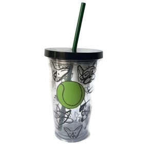 Starbucks dogs and tennis ball to-go cup
